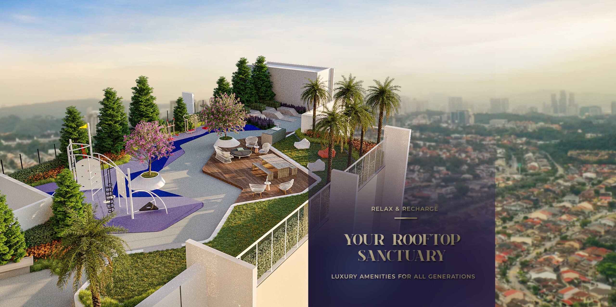 Rooftop view of Bangsar from Alfa Bangsar's sky garden with text: Relax and Recharge. Your rooftop sanctuary. Luxury amenities for all generations.