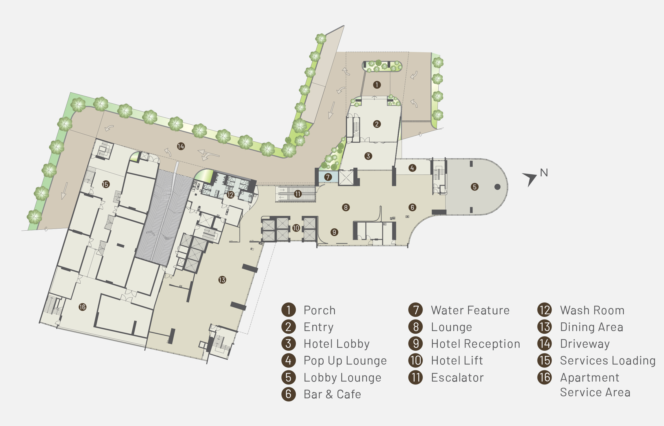 Level 1 plan of Alfa Bangsar showing facilities such as the porch, entry, hotel lobby, pop up lounge, lobby lounge, bar and cafe, water feature, lounge, hotel reception, hotel lift, escalator, wash room, dining area, driveway, services loading, and apartment service area.