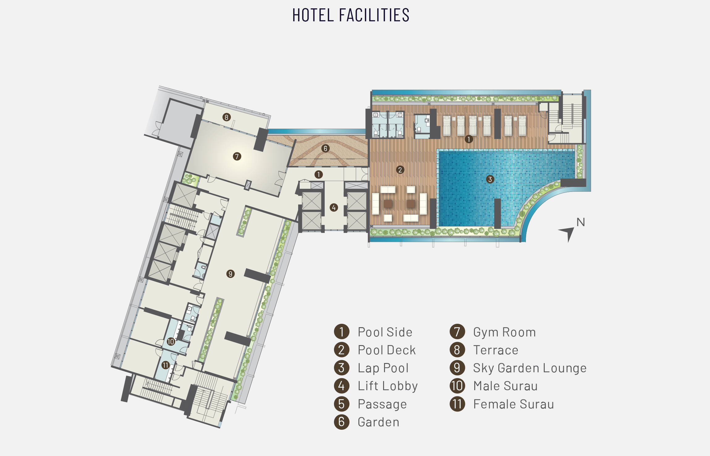 Level 8 plan of Alfa Bangsar showing the hotel facilities including pool side, pool deck, lap pool, lift lobby, passage, garden, gym room, terrace, Sky Garden Lounge, male surau, and female surau.