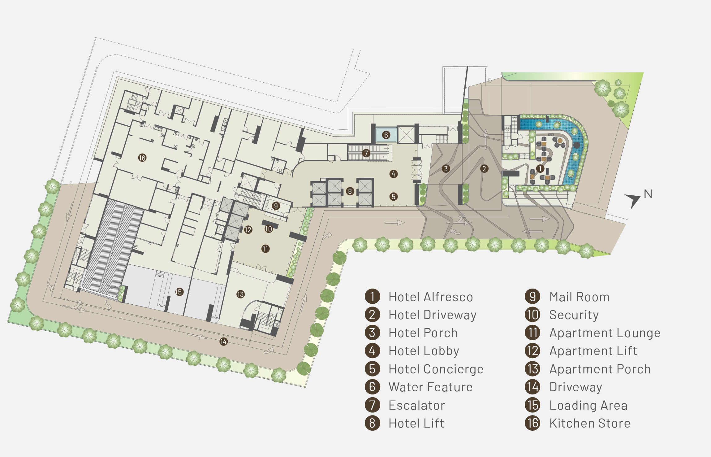 Ground floor plan of Alfa Bangsar showing facilities such as hotel afresco, hotel driveway, hotel porch, hotel lobby, hotel concierge, water feature, escalator, hotel lift, mail room, security, apartment lounge, apartment lift, apartment porch, driveway, loading area, and kitchen store.