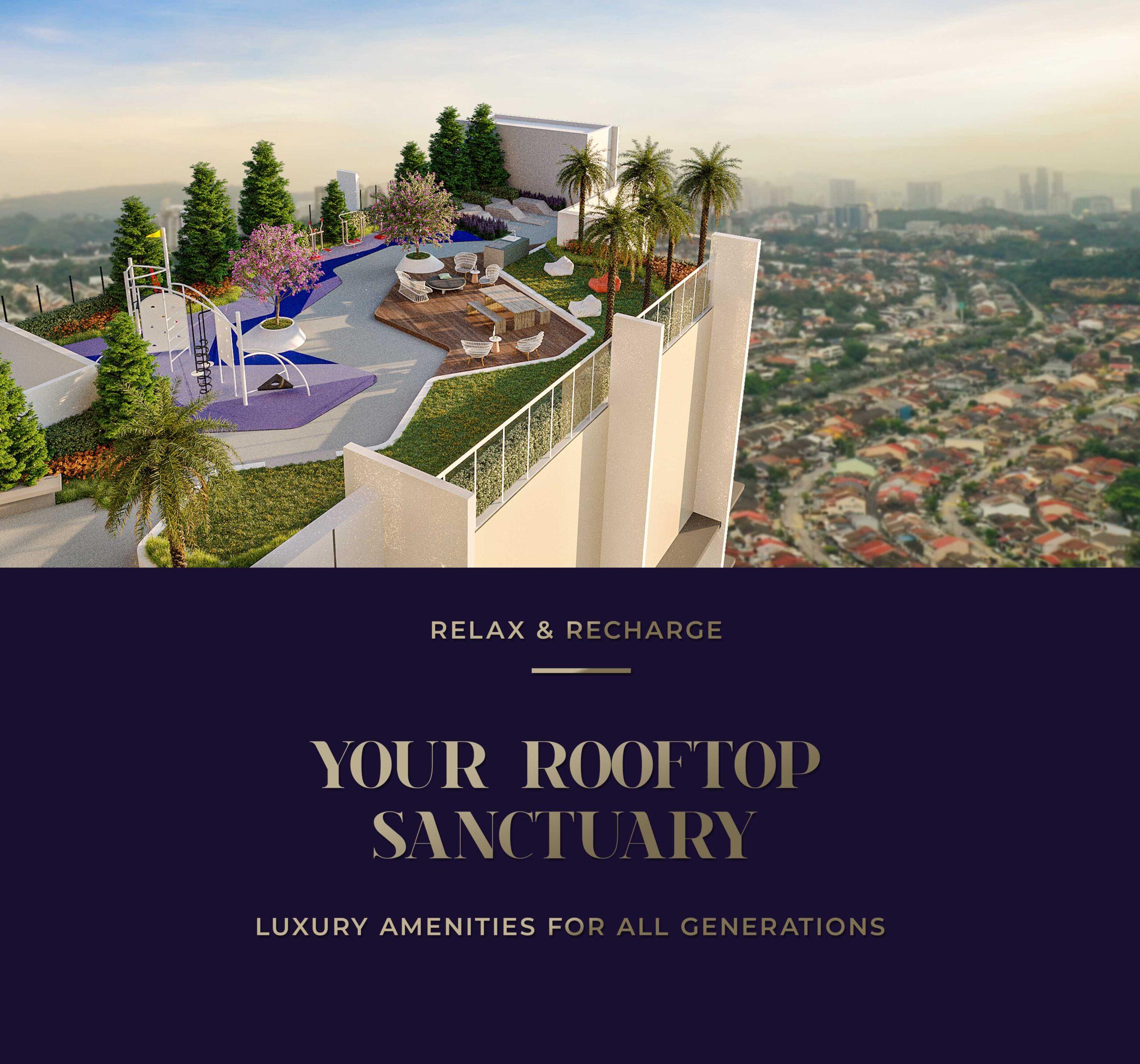 Alfa Bangsar's sky garden with a view of Bangsar.