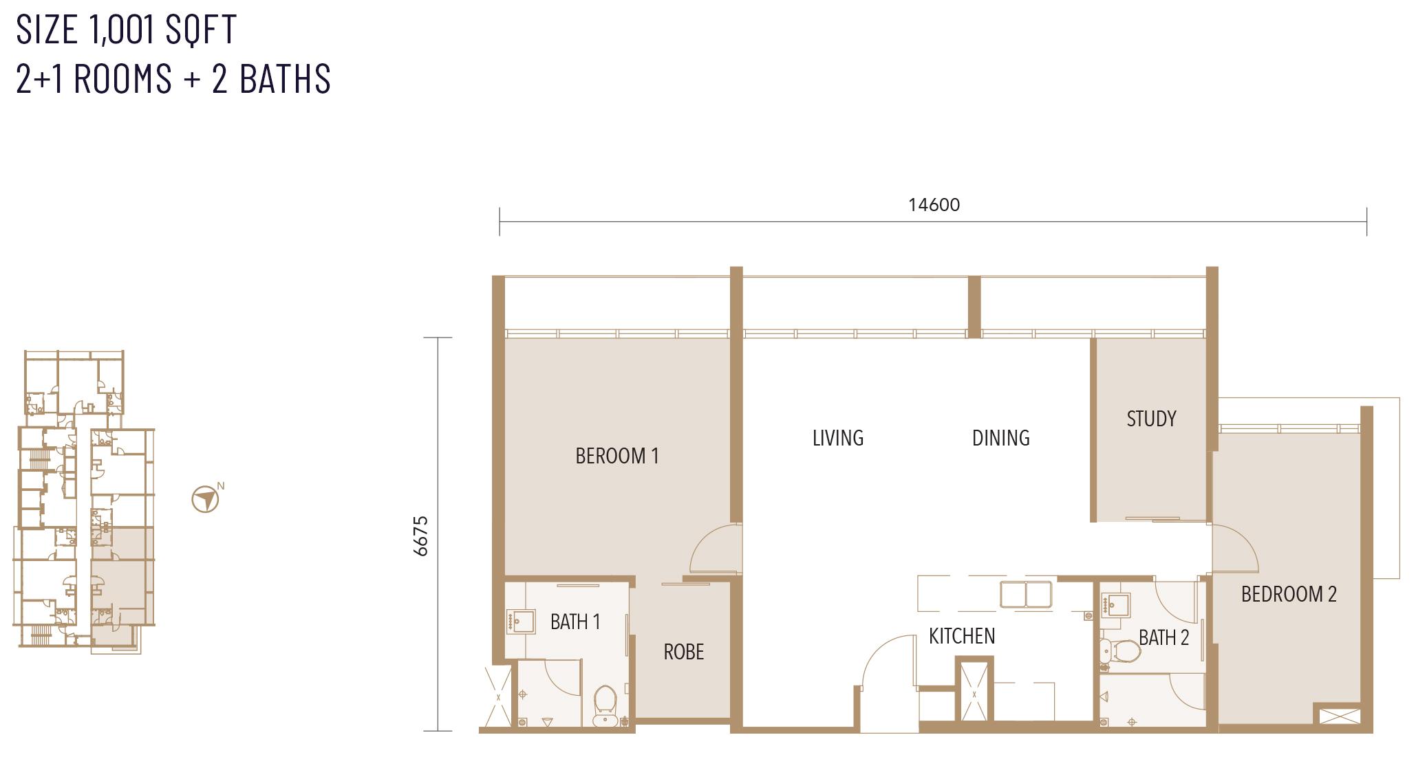 Type E floor plan at Alfa Bangsar