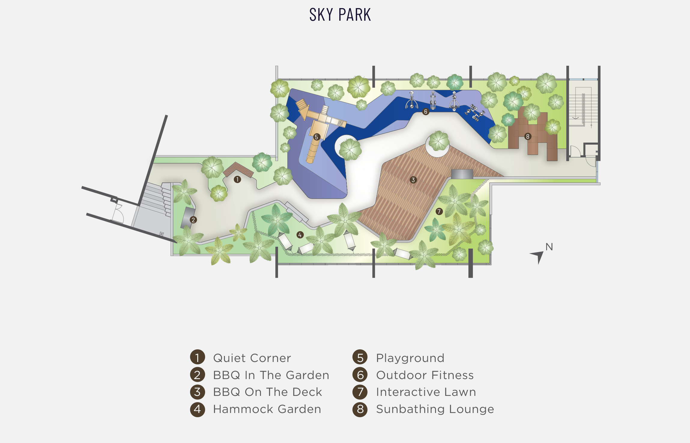 Level 38 plan of Alfa Bangsar that shows the Sky Park which includes the Quiet Corner, BBQ in the Garden, BBQ on the Deck, hammock garden, playground, outdoor fitness, interactive lawn, sunbathing lounge.