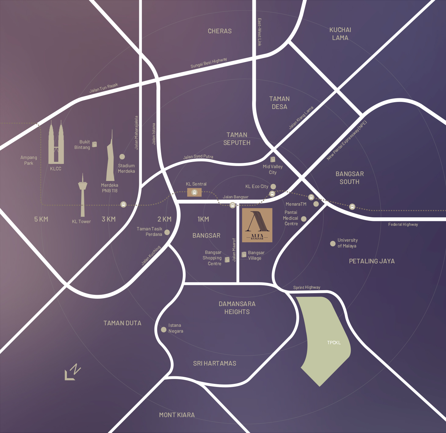 A map showing Alfa Bangsar condo or service apartment location nearby Bangsar Village, Bangsar Shopping Centre, Bangsar South, and KL Sentral